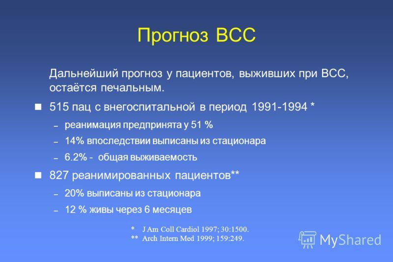 Прогноз ВСС Дальнейший прогноз у пациентов, выживших при ВСС, остаётся печальным. 515 пац с внегоспитальной в период 1991-1994 * – реанимация предпринята у 51 % – 14% впоследствии выписаны из стационара – 6.2% - общая выживаемость 827 реанимированных