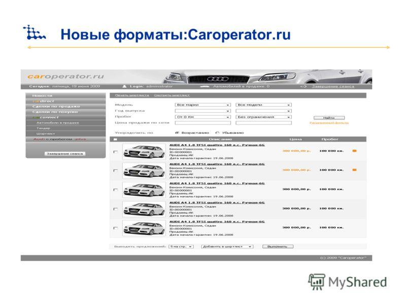 Новые форматы:Сaroperator.ru