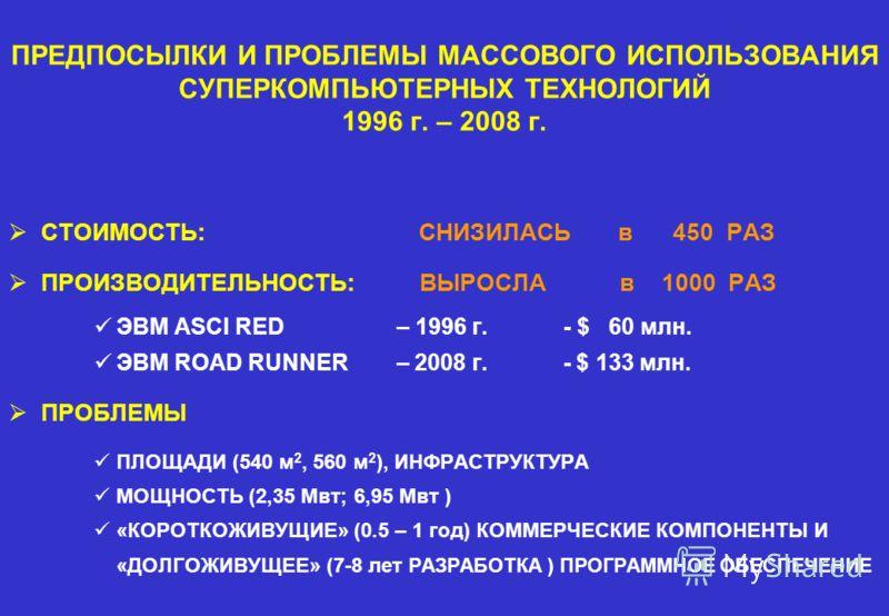 ПРЕДПОСЫЛКИ И ПРОБЛЕМЫ МАССОВОГО ИСПОЛЬЗОВАНИЯ СУПЕРКОМПЬЮТЕРНЫХ ТЕХНОЛОГИЙ 1996 г. – 2008 г. СТОИМОСТЬ: СНИЗИЛАСЬ в 450 РАЗ ПРОИЗВОДИТЕЛЬНОСТЬ: ВЫРОСЛА в 1000 РАЗ ЭВМ ASCI RED – 1996 г. - $ 60 млн. ЭВМ ROAD RUNNER – 2008 г. - $ 133 млн. ПРОБЛЕМЫ ПЛО
