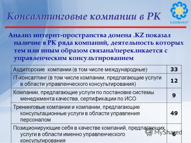 Консалтинговые компании в РК Анализ интернт-пространства домена.KZ показал наличие в РК ряда компаний, деятельность которых тем или иным образом связана/перекликается с управленческим консультированием Аудиторские компании (в том числе международные)