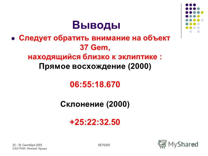 25 - 30 Сентября 2005 САО РАН, Нижний Архыз SETI200523 Выводы Следует обратить внимание на объект 37 Gem, находящийся близко к эклиптике : Прямое восхождение (2000) 06:55:18.670 Склонение (2000) +25:22:32.50