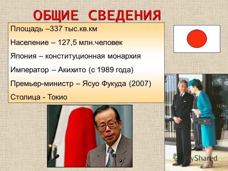 Площадь –337 тыс.кв.км Население – 127,5 млн.человек Япония – конституционная монархия Император – Акихито (с 1989 года) Премьер-министр – Ясуо Фукуда (2007) Столица - Токио ОБЩИЕ СВЕДЕНИЯ