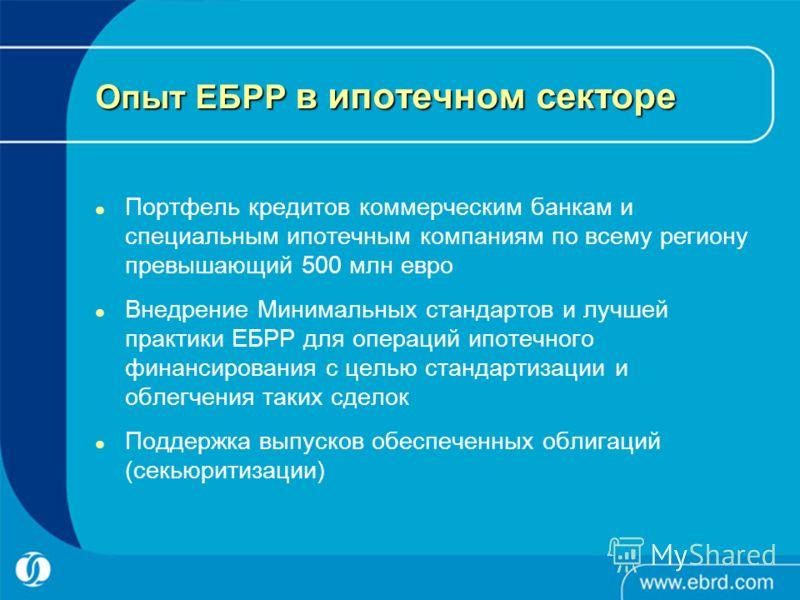 Опыт ЕБРР в ипотечном секторе Портфель кредитов коммерческим банкам и специальным ипотечным компаниям по всему региону превышающий 500 млн евро Внедрение Минимальных стандартов и лучшей практики ЕБРР для операций ипотечного финансирования с целью ста
