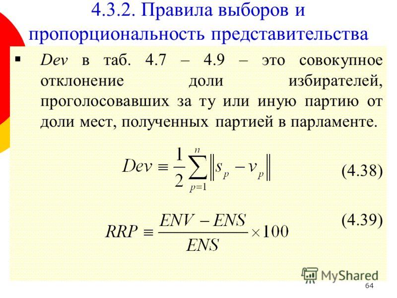 64 Dev в таб. 4.7 – 4.9 – это совокупное отклонение доли избирателей, проголосовавших за ту или иную партию от доли мест, полученных партией в парламенте. (4.38) (4.39) 4.3.2. Правила выборов и пропорциональность представительства
