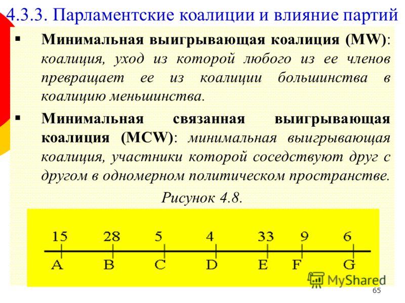 65 Минимальная выигрывающая коалиция (MW): коалиция, уход из которой любого из ее членов превращает ее из коалиции большинства в коалицию меньшинства. Минимальная связанная выигрывающая коалиция (MCW): минимальная выигрывающая коалиция, участники кот