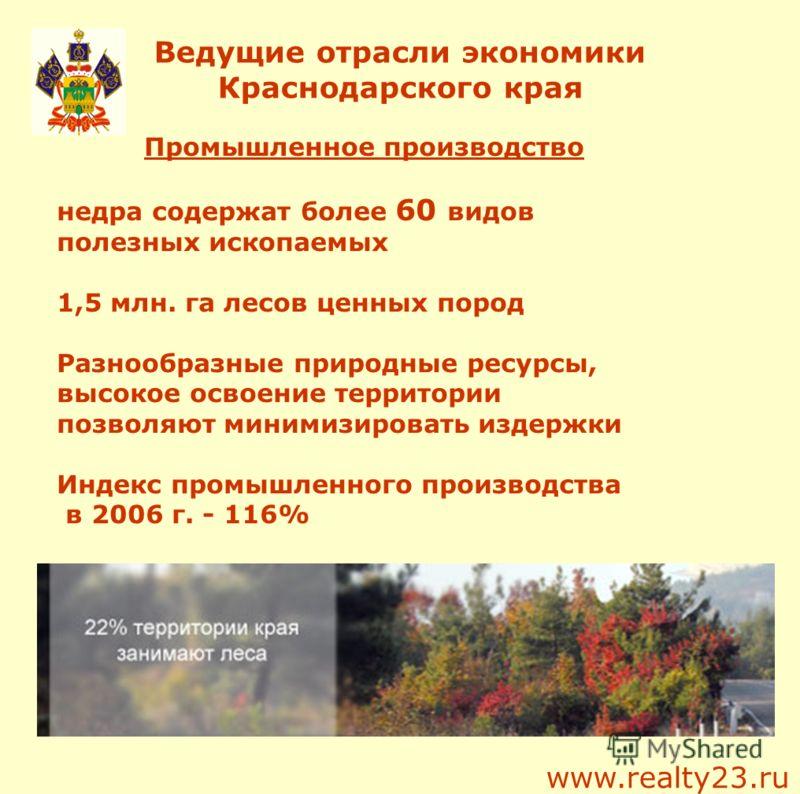 Ведущие отрасли экономики Краснодарского края Промышленное производство недра содержат более 60 видов полезных ископаемых 1,5 млн. га лесов ценных пород Разнообразные природные ресурсы, высокое освоение территории позволяют минимизировать издержки Ин