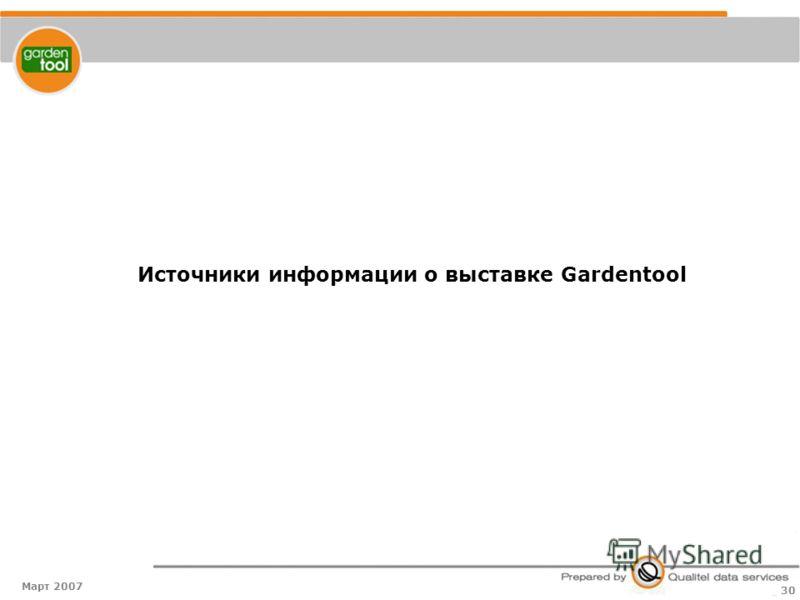 Март 2007 30 Источники информации о выставке Gardentool