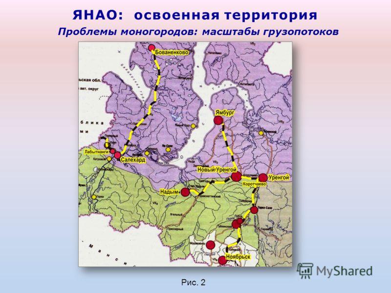 ЯНАО: освоенная территория Рис. 2 Проблемы моногородов: масштабы грузопотоков