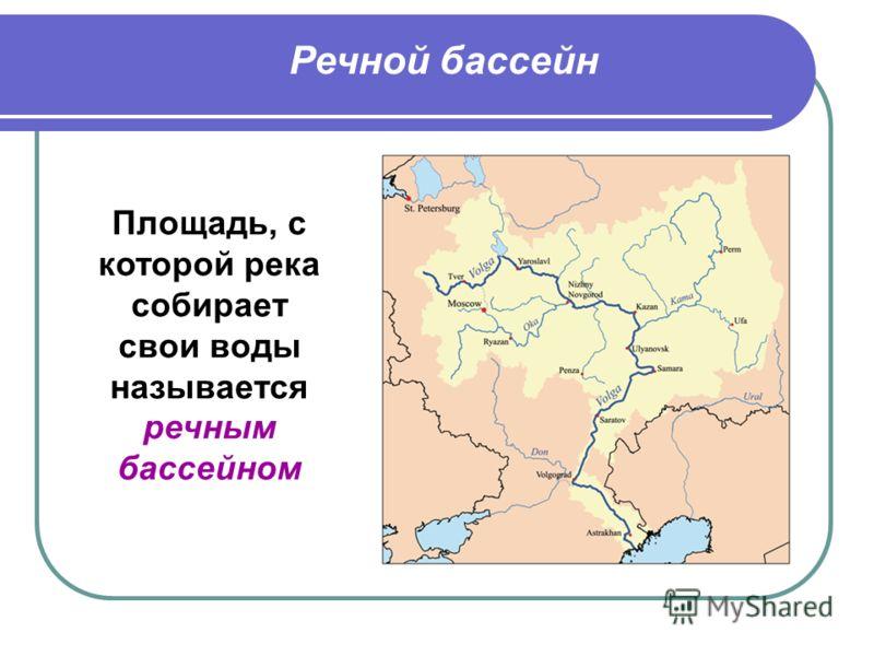 Речной бассейн Площадь, с которой река собирает свои воды называется речным бассейном