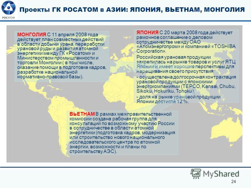 24 Проекты ГК РОСАТОМ в АЗИИ: ЯПОНИЯ, ВЬЕТНАМ, МОНГОЛИЯ ЯПОНИЯ С 20 марта 2008 года действует рамочное соглашение о деловом сотрудничестве между ОАО «Атомэнергопром» и компанией «TOSHIBA Corporation». Российская урановая продукции закрепилась на рынк