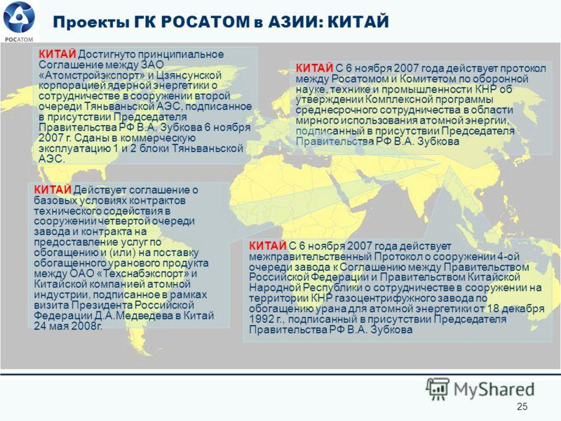 25 Проекты ГК РОСАТОМ в АЗИИ: КИТАЙ КИТАЙ С 6 ноября 2007 года действует протокол между Росатомом и Комитетом по оборонной науке, технике и промышленности КНР об утверждении Комплексной программы среднесрочного сотрудничества в области мирного исполь