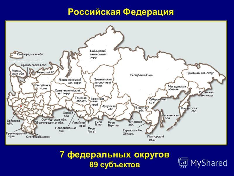 Российская Федерация 7 федеральных округов 89 субъектов