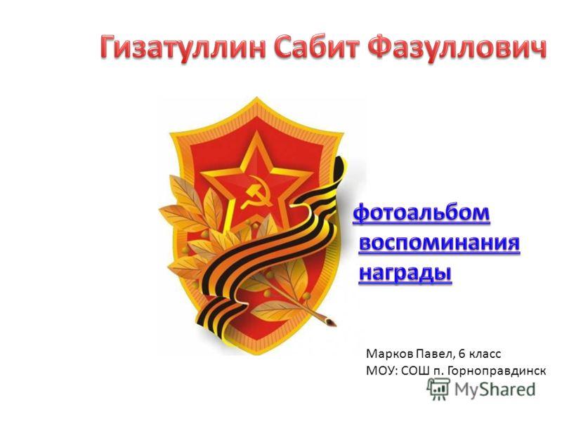 Марков Павел, 6 класс МОУ: СОШ п. Горноправдинск