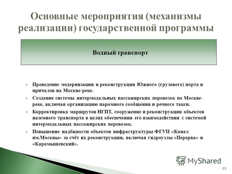 Проведение модернизации и реконструкции Южного (грузового) порта и причалов на Москве-реке. Создание системы интермодальных пассажирских перевозок по Москве- реке, включая организацию паромного сообщения и речного такси. Корректировка маршрутов НГПТ,