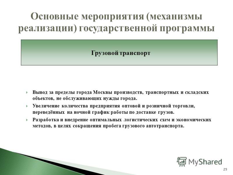 Вывод за пределы города Москвы производств, транспортных и складских объектов, не обслуживающих нужды города. Увеличение количества предприятия оптовой и розничной торговли, переведённых на ночной график работы по доставке грузов. Разработка и внедре