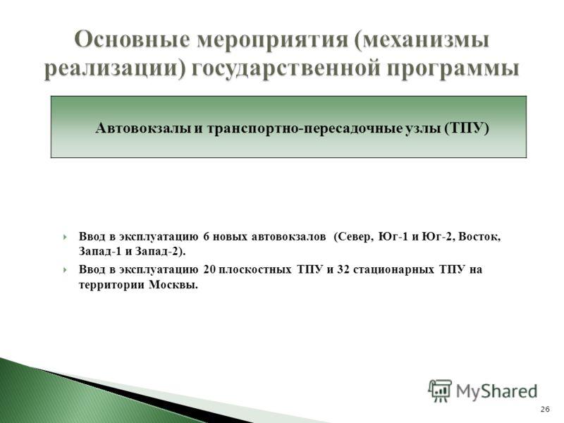 Ввод в эксплуатацию 6 новых автовокзалов (Север, Юг-1 и Юг-2, Восток, Запад-1 и Запад-2). Ввод в эксплуатацию 20 плоскостных ТПУ и 32 стационарных ТПУ на территории Москвы. 26 Основные мероприятия (механизмы реализации) государственной программы Авто