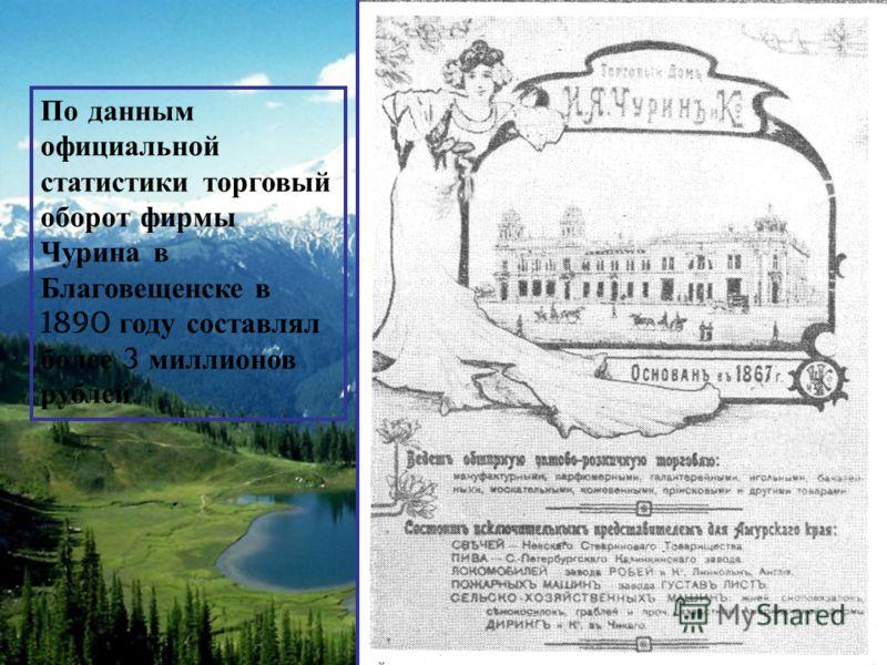 По д анным официальной статистики т орговый оборот ф ирмы Чурина в Благовещенске в 1890 г оду с оставлял более 3 м иллионов рублей.