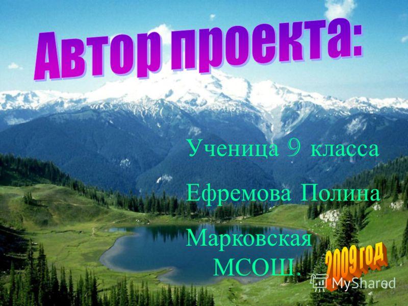 Ученица 9 к ласса Ефремова П олина Марковская МСОШ.