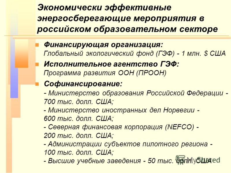 Экономически эффективные энергосберегающие мероприятия в российском образовательном секторе n n Финансирующая организация: Глобальный экологический фонд (ГЭФ) - 1 млн. $ США n n Исполнительное агентство ГЭФ: Программа развития ООН (ПРООН) n n Софинан