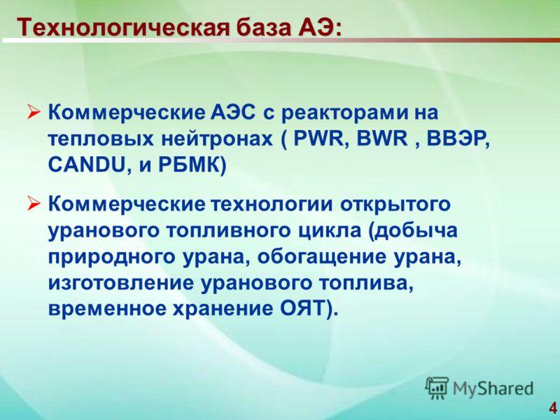 4 Технологическая база АЭ: Коммерческие АЭС с реакторами на тепловых нейтронах ( PWR, BWR, ВВЭР, CANDU, и РБМК) Коммерческие технологии открытого уранового топливного цикла (добыча природного урана, обогащение урана, изготовление уранового топлива, в