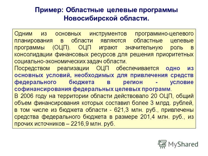 Пример: Областные целевые программы Новосибирской области. Одним из основных инструментов программно-целевого планирования в области являются областные целевые программы (ОЦП). ОЦП играют значительную роль в консолидации финансовых ресурсов для решен