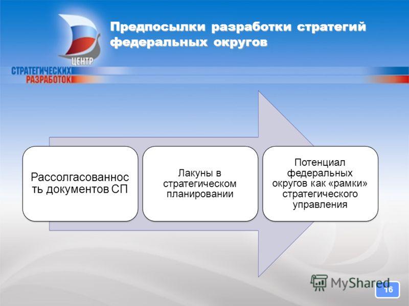 Предпосылки разработки стратегий федеральных округов Рассолгасованнос ть документов СП Лакуны в стратегическом планировании Потенциал федеральных округов как «рамки» стратегического управления 16