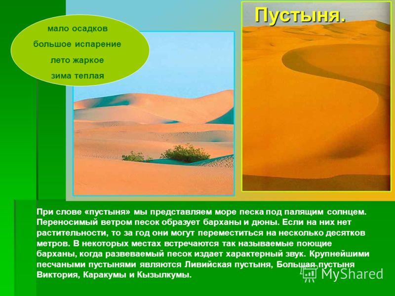 При слове «пустыня» мы представляем море песка под палящим солнцем. Переносимый ветром песок образует барханы и дюны. Если на них нет растительности, то за год они могут переместиться на несколько десятков метров. В некоторых местах встречаются так н