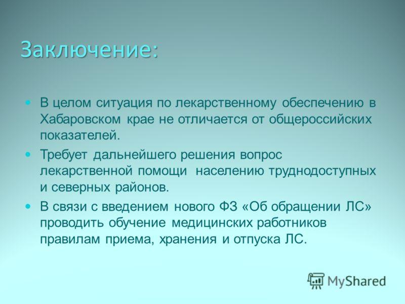 Заключение: В целом ситуация по лекарственному обеспечению в Хабаровском крае не отличается от общероссийских показателей. Требует дальнейшего решения вопрос лекарственной помощи населению труднодоступных и северных районов. В связи с введением новог