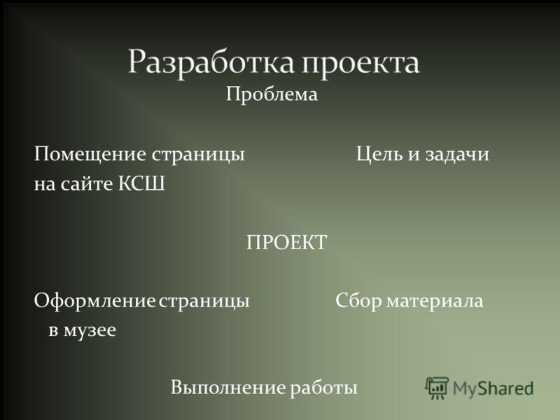 Проблема Помещение страницы Цель и задачи на сайте КСШ ПРОЕКТ Оформление страницы Сбор материала в музее Выполнение работы