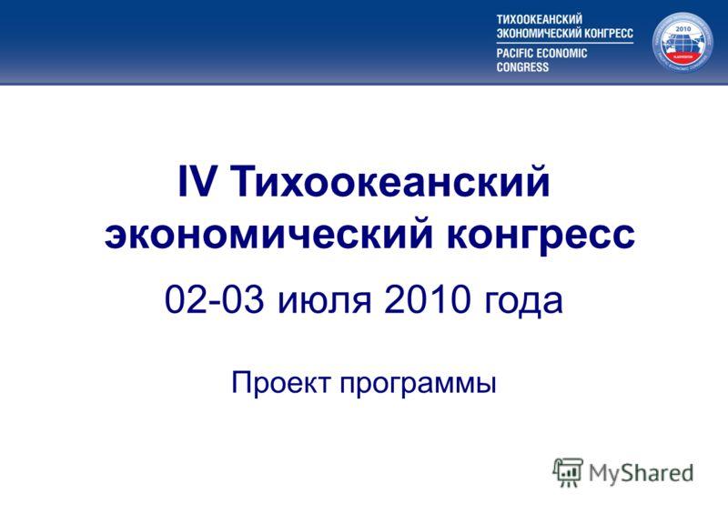 Меры государственной поддержки приоритетных видов экономической деятельности IV Тихоокеанский экономический конгресс 02-03 июля 2010 года Проект программы
