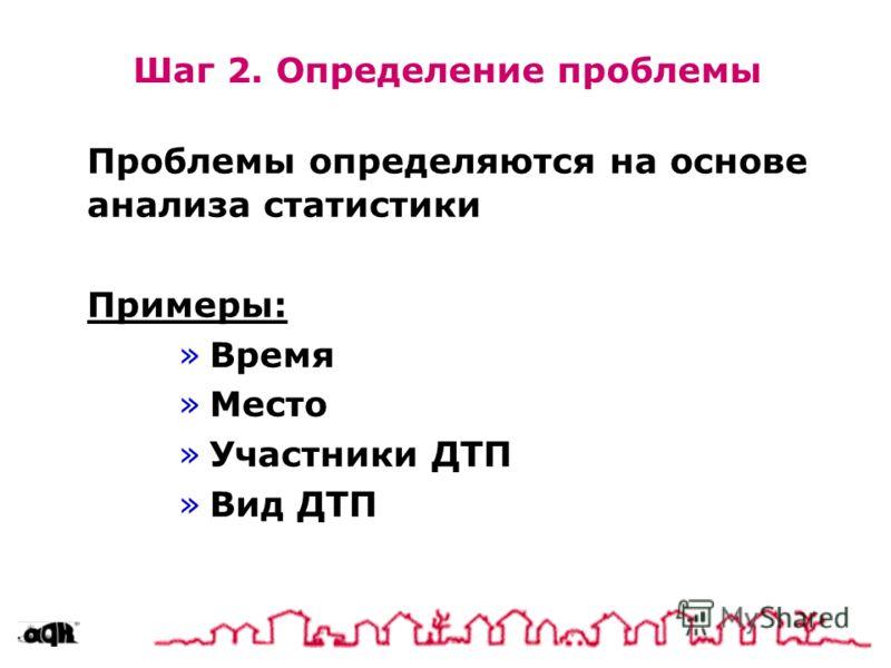 Шаг 2. Определение проблемы Проблемы определяются на основе анализа статистики Примеры: »Время »Место »Участники ДТП »Вид ДТП