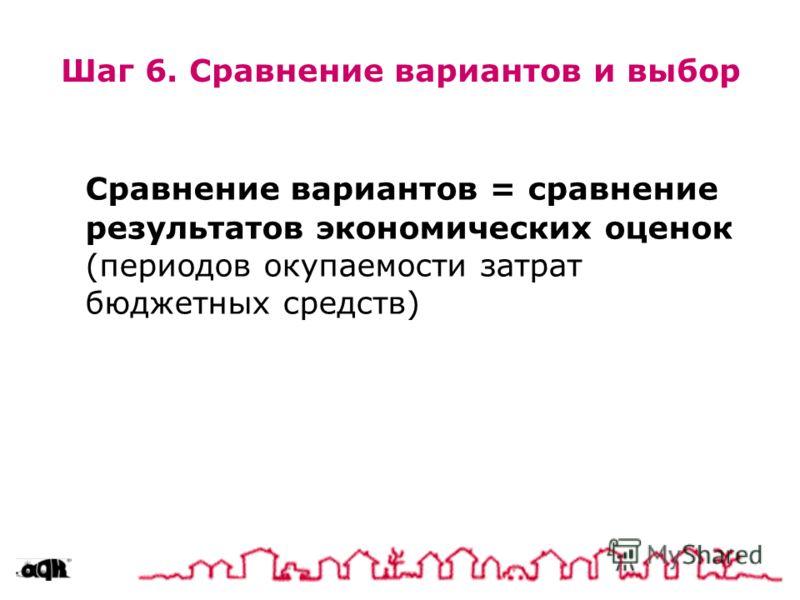 Шаг 6. Сравнение вариантов и выбор Сравнение вариантов = сравнение результатов экономических оценок (периодов окупаемости затрат бюджетных средств)