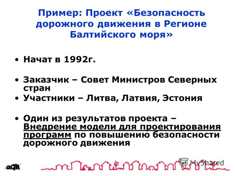 Пример: Проект «Безопасность дорожного движения в Регионе Балтийского моря» Начат в 1992г. Заказчик – Совет Министров Северных стран Участники – Литва, Латвия, Эстония Один из результатов проекта – Внедрение модели для проектирования программ по повы