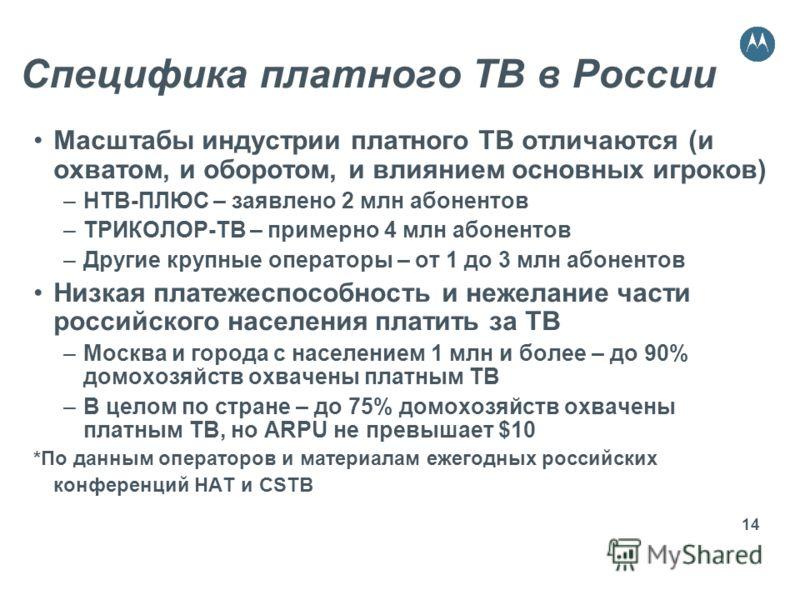 14 Специфика платного ТВ в России Масштабы индустрии платного ТВ отличаются (и охватом, и оборотом, и влиянием основных игроков) –НТВ-ПЛЮС – заявлено 2 млн абонентов –ТРИКОЛОР-ТВ – примерно 4 млн абонентов –Другие крупные операторы – от 1 до 3 млн аб