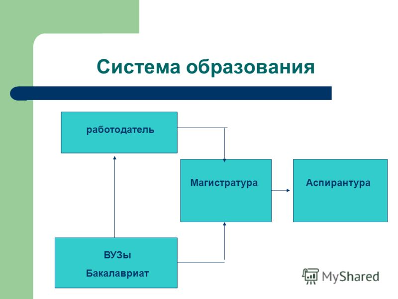 Система образования ВУЗы Бакалавриат работодатель МагистратураАспирантура
