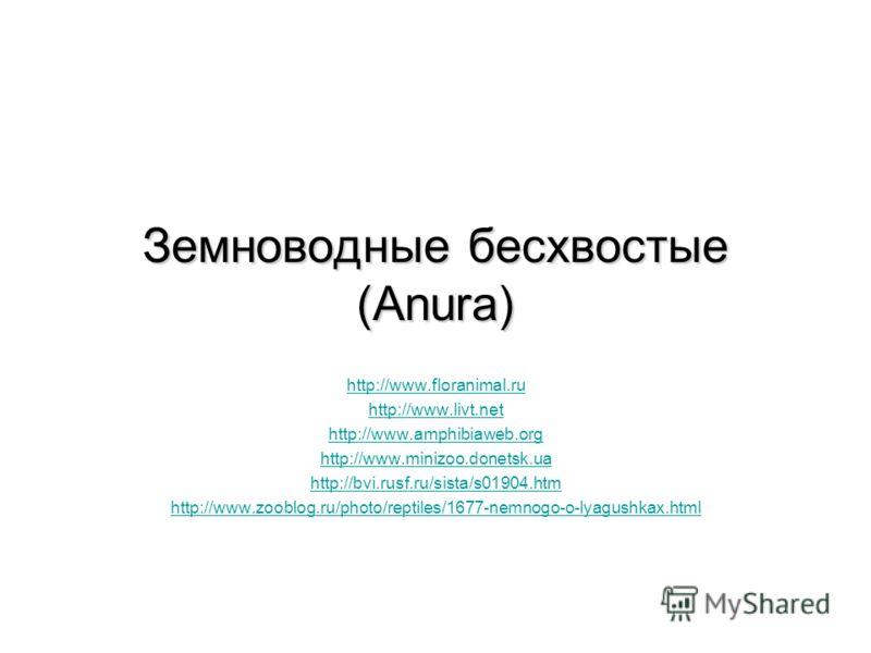 http://www.floranimal.ru http://www.livt.net http://www.amphibiaweb.org http://www.minizoo.donetsk.ua http://bvi.rusf.ru/sista/s01904.htm http://www.zooblog.ru/photo/reptiles/1677-nemnogo-o-lyagushkax.html Земноводные бесхвостые (Anura)
