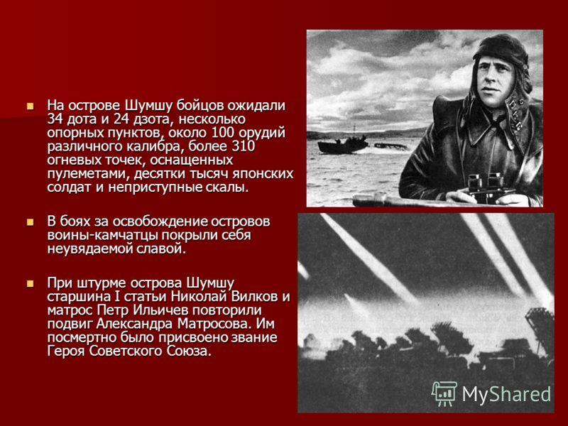 Соотношение сил в ходе десантной операции на Шумшу 15.08.1945 – 23.08.1945 гг. Силы и средства Советская армия Японская армия Батальоны Орудия 100 мм и более Орудия 76 и 75-мм Орудия 47 и 45-мм Миномёты 120-мм Миномёты 50-мм Гранатомёты Тяжёлые пулем