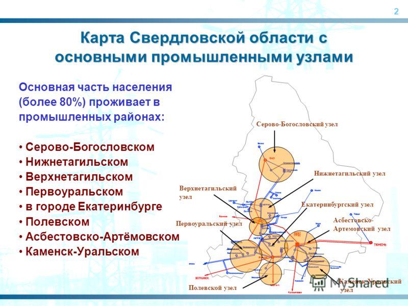 2 Карта Свердловской области с основными промышленными узлами Основная часть населения (более 80%) проживает в промышленных районах: Серово-Богословском Нижнетагильском Верхнетагильском Первоуральском в городе Екатеринбурге Полевском Асбестовско-Артё