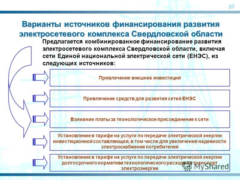 27 Предлагается комбинированное финансирование развития электросетевого комплекса Свердловской области, включая сети Единой национальной электрической сети (ЕНЭС), из следующих источников: Варианты источников финансирования развития электросетевого к