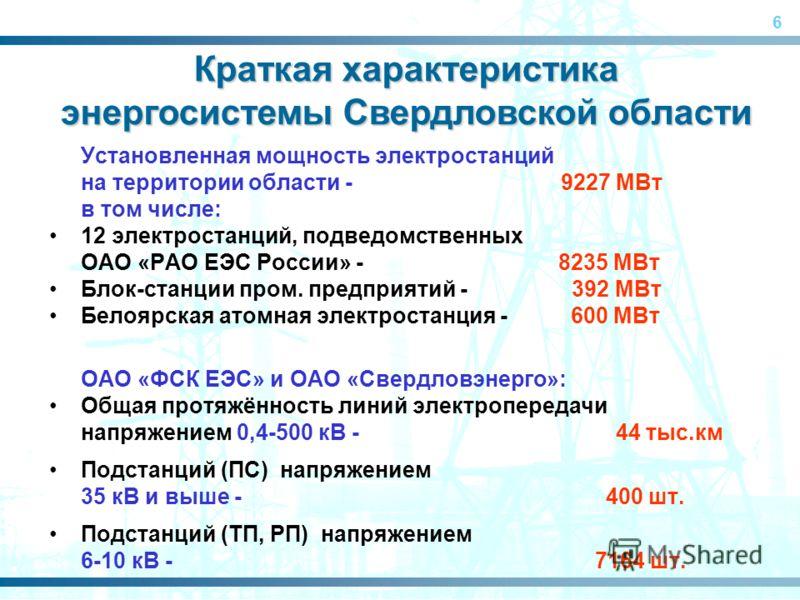 6 Установленная мощность электростанций на территории области - 9227 МВт в том числе: 12 электростанций, подведомственных ОАО «РАО ЕЭС России» - 8235 МВт Блок-станции пром. предприятий - 392 МВт Белоярская атомная электростанция - 600 МВт ОАО «ФСК ЕЭ