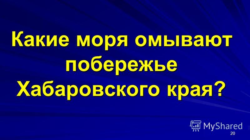 Какие моря омывают побережье Хабаровского края? 20