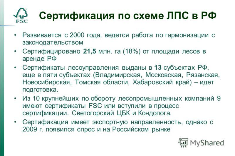 Сертификация по схеме ЛПС в РФ Развивается с 2000 года, ведется работа по гармонизации с законодательством Сертифицировано 21,5 млн. га (18%) от площади лесов в аренде РФ Сертификаты лесоуправления выданы в 13 субъектах РФ, еще в пяти субъектах (Влад