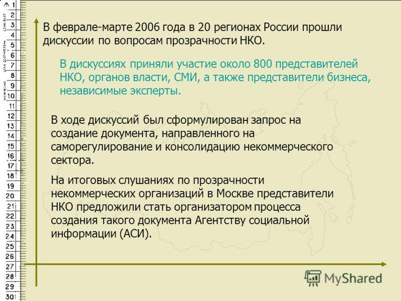 В феврале-марте 2006 года в 20 регионах России прошли дискуссии по вопросам прозрачности НКО. В ходе дискуссий был сформулирован запрос на создание документа, направленного на саморегулирование и консолидацию некоммерческого сектора. На итоговых слуш