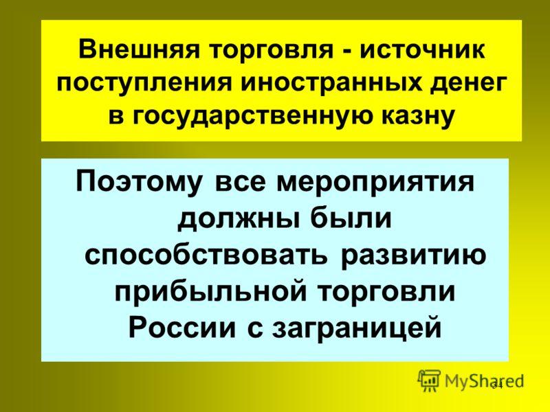 33 Ордын-Нащекин ратовал за внешнюю торговлю но на началах выгодных для России и решительно выступал против засилия иностранцев