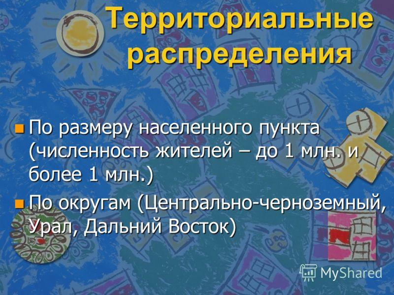 Территориальные распределения n По размеру населенного пункта (численность жителей – до 1 млн. и более 1 млн.) n По округам (Центрально-черноземный, Урал, Дальний Восток)