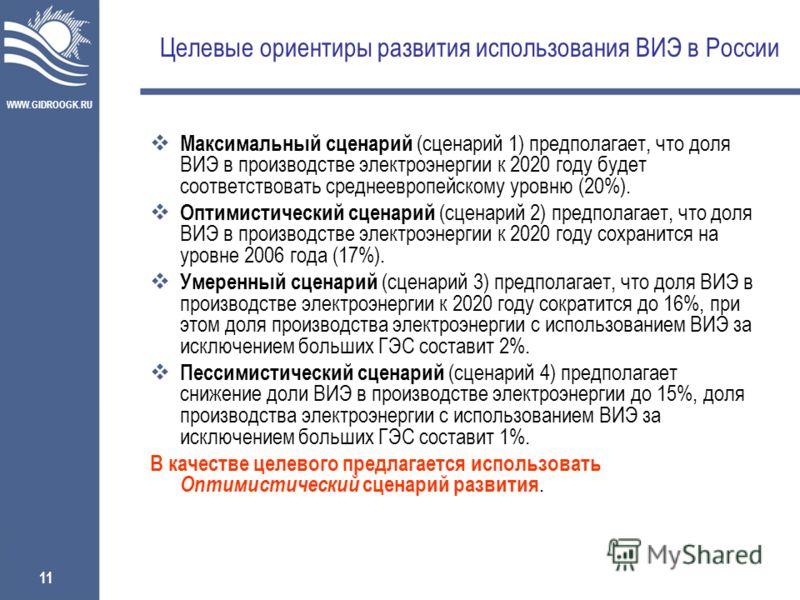WWW.GIDROOGK.RU 11 Целевые ориентиры развития использования ВИЭ в России Максимальный сценарий (сценарий 1) предполагает, что доля ВИЭ в производстве электроэнергии к 2020 году будет соответствовать среднеевропейскому уровню (20%). Оптимистический сц