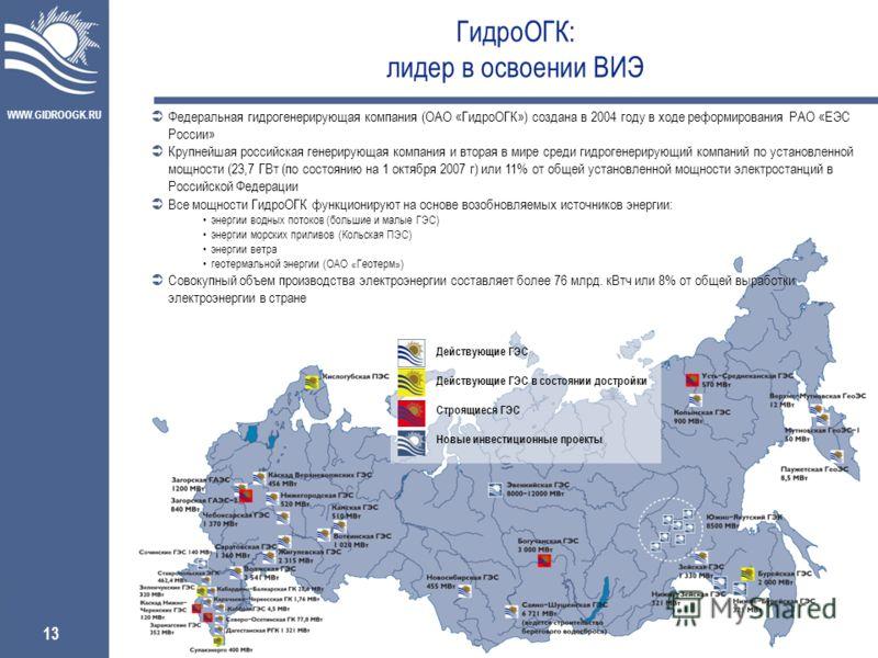WWW.GIDROOGK.RU 13 ГидроОГК: лидер в освоении ВИЭ Федеральная гидрогенерирующая компания (ОАО «ГидроОГК») создана в 2004 году в ходе реформирования РАО «ЕЭС России» Крупнейшая российская генерирующая компания и вторая в мире среди гидрогенерирующий к