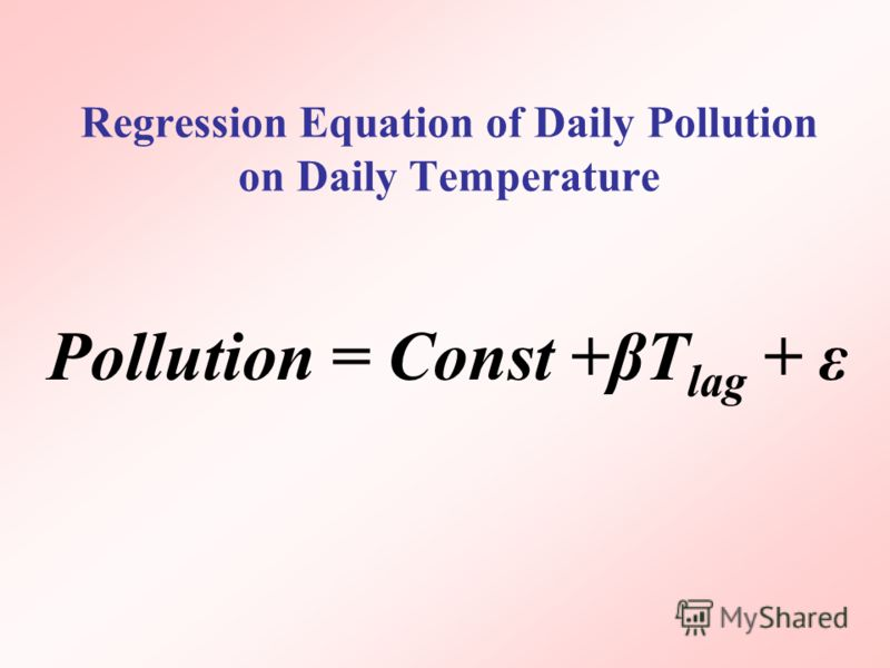 Regression Equation of Daily Pollution on Daily Temperature Pollution = Const +βT lag + ε