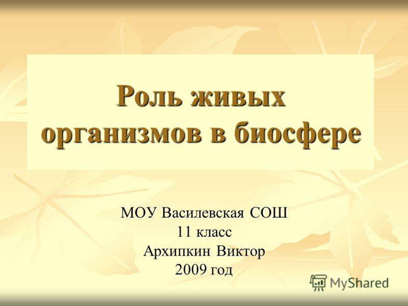 Роль живых организмов в биосфере МОУ Василевская СОШ 11 класс Архипкин Виктор 2009 год