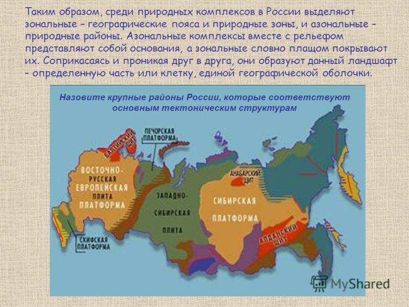 Таким образом, среди природных комплексов в России выделяют зональные – географические пояса и природные зоны, и азональные – природные районы. Азональные комплексы вместе с рельефом представляют собой основания, а зональные словно плащом покрывают и